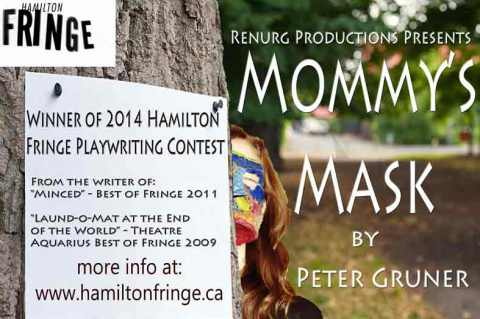 Promotional card for Mommy's Mask which played at the 2014 Hamilton Fringe Festival.